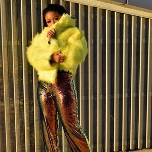 Jackets & Coats - Neon yellow fur jacket